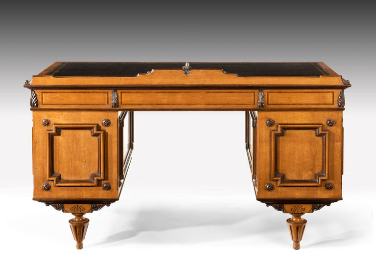 Fine 19th Century Viennese Satin Sycamore Writing Desk For Sale 7
