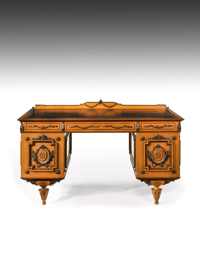 Fine 19th Century Viennese Satin Sycamore Writing Desk For Sale 8