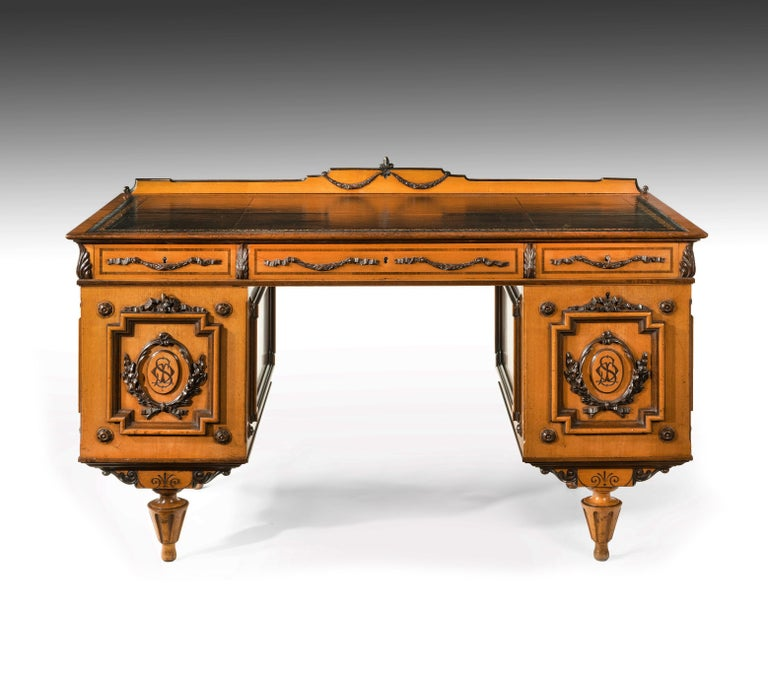 Fine 19th Century Viennese Satin Sycamore Writing Desk For Sale 9