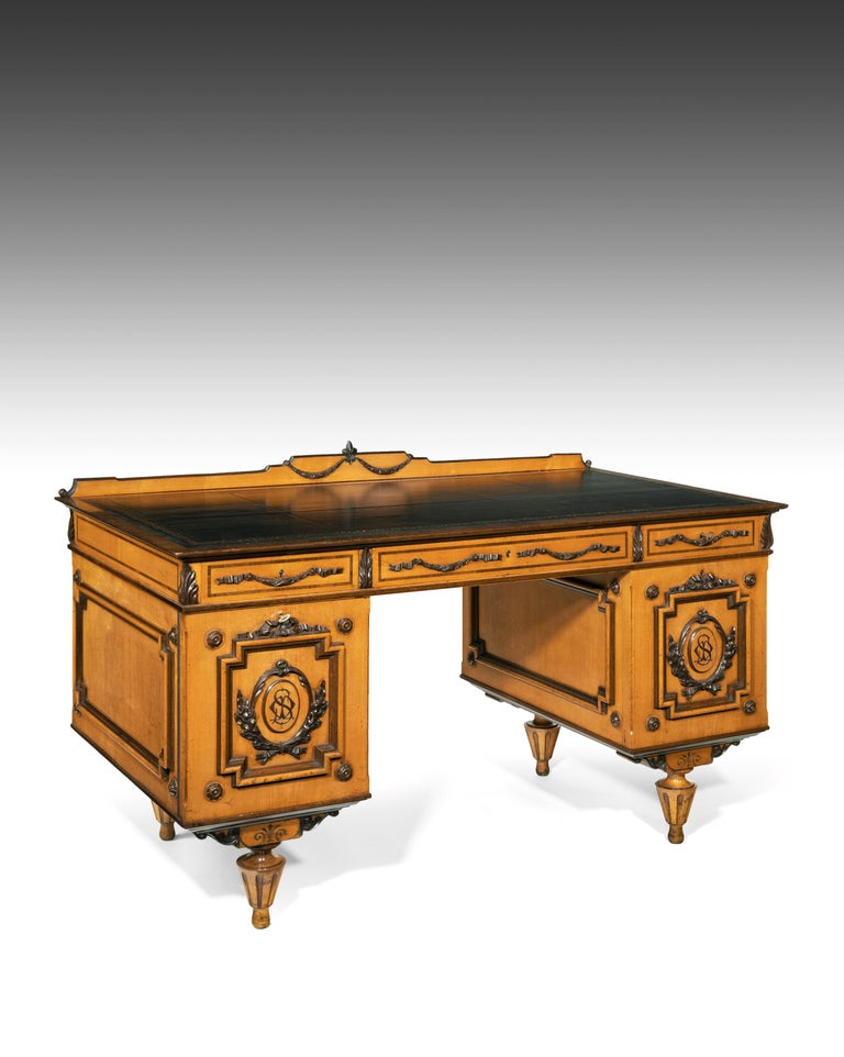 A fine 19th century Austrian satin sycamore and purple-heart wood (Amaranth) writing desk undoubtedly from Vienna.  Austrian, Vienna, circa 1850-1860.  Decorated all over with purple-heart wood / neo-classical finely carved mouldings and