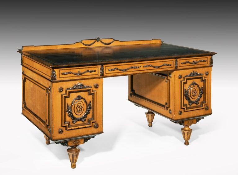 Biedermeier Fine 19th Century Viennese Satin Sycamore Writing Desk For Sale