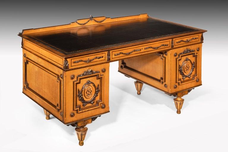 Austrian Fine 19th Century Viennese Satin Sycamore Writing Desk For Sale