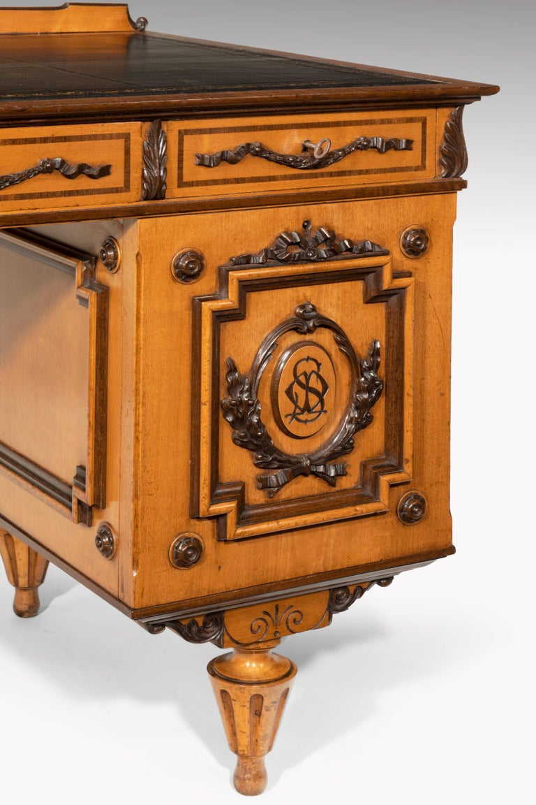 Fine 19th Century Viennese Satin Sycamore Writing Desk For Sale 1