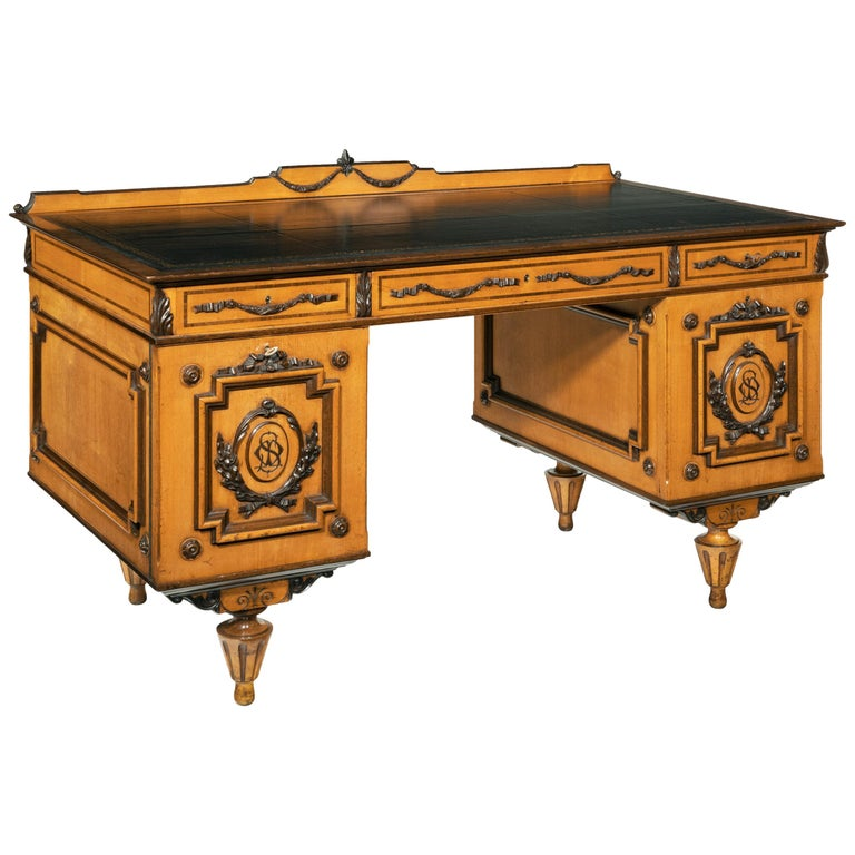Fine 19th Century Viennese Satin Sycamore Writing Desk For Sale