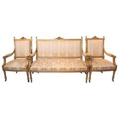 Fine 19th Century Water Gilt Louis XVI Three-Piece Suite of Furniture
