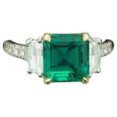 Fine 3.17 Carat Emerald and Diamond Ring in Platinum