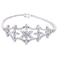 Fine 4.75 Carat Diamonds Bracelet in 18 Karat White Gold