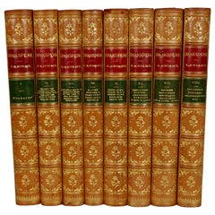 Fine 8 Volume Leather Bound Set The Works of Shakspeare Pictorial Edition