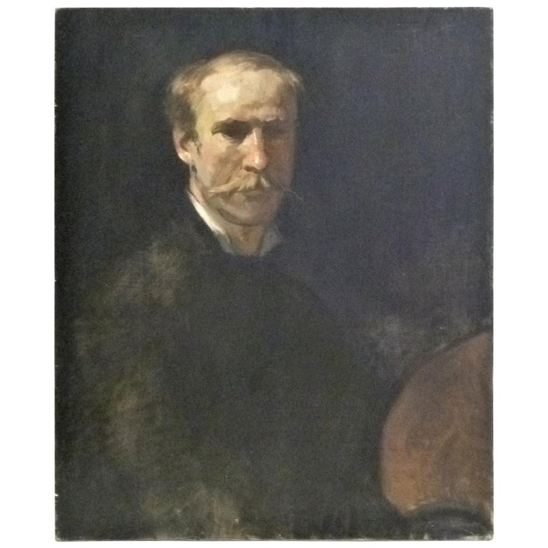 Fine Academic Portrait of a Man Turn of the Century Ancestor For Sale