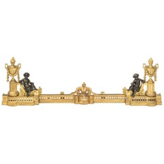 Fine Adjustable Fireplace Fender, Gilt Chenets and Bronze Putti's, 19th Century