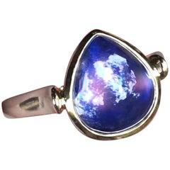 Fine African Rainbow Moonstone 18 Karat Gold Ring