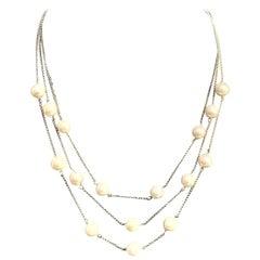 Fine Akoya Pearl 14 Karat Triple-Strand Necklace Certified