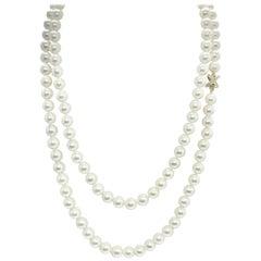 "Akoya Pearl Diamond Necklace 14k Gold 8 mm 40 "" Certified"
