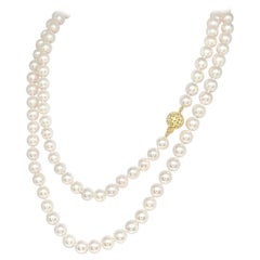 Diamond Akoya Pearl Necklace 14k Gold 8 mm 36 in Certified
