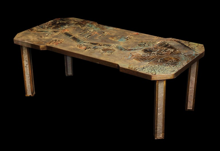 A fine bronze, Pewter etched and hand enameled decorated chinoiserie coffee table of unique shape depicting Chinese figures signed by Philip & Kelvin Laverene.