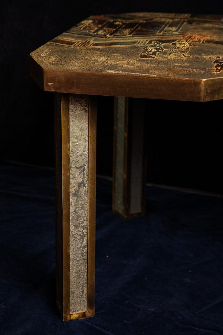 Bronze  Fine American Philip & Kelvin Laverene Rectangular Chinoiserie Coffee Table For Sale