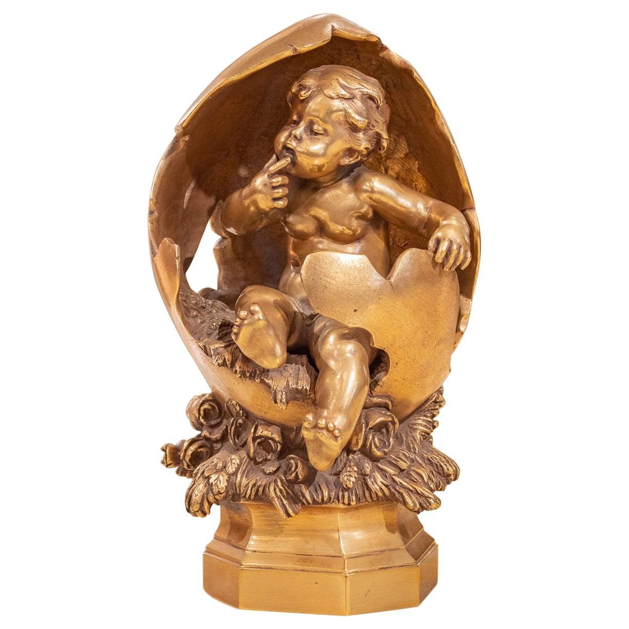 Fine and Beautiful 19th Century French Gilt Bronze Cherub by August Moreau