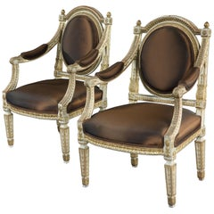 Fine and Decorative Pair of Italian Painted and Parcel Gilt Armchairs of