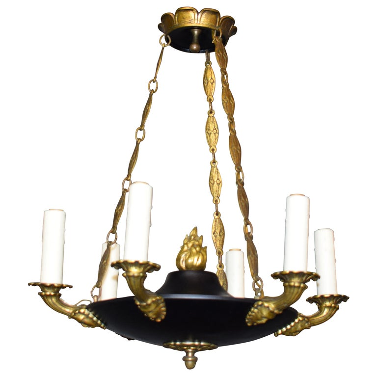 Fine and Elegant Empire Style Chandelier, France, circa 1910, 6 Lights For Sale