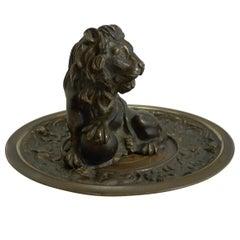 Fine and Grand Antique English Bronze Dish, Lion, circa 1860
