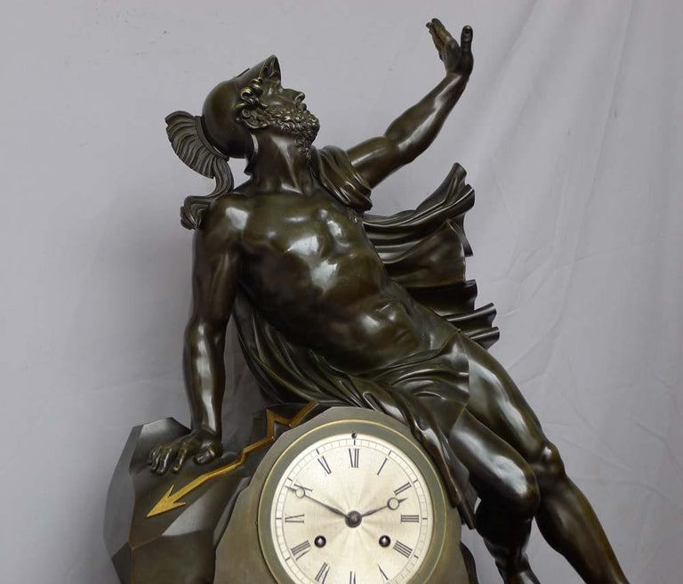 Patinated Fine and Large Antique Charles X Mantel Clock of Ajax For Sale