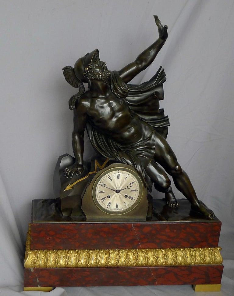Fine and Large Antique Charles X Mantel Clock of Ajax In Good Condition For Sale In London, GB