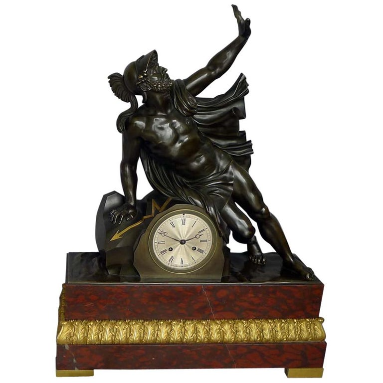 Fine and Large Antique Charles X Mantel Clock of Ajax For Sale