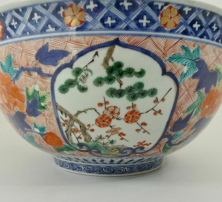 Fine and Large Imari Bowl Decorated with Fish, circa 1680, Genroku Period In Good Condition For Sale In Gargrave, North Yorkshire