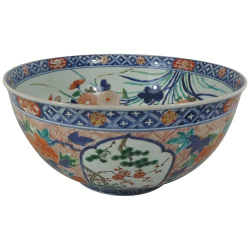 Fine and Large Imari Bowl Decorated with Fish, circa 1680, Genroku Period