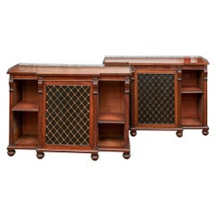 Fine and Notable Pair of Regency Style Bookcase Cabinets