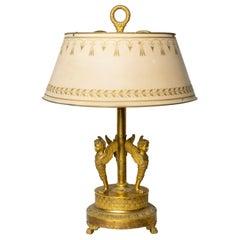 Fine and Rare Empire Period Gilt Bronze Bouillotte Table Lamp