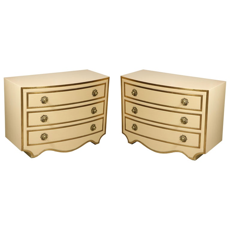 Painted and parcel gilt 3 drawer chests with brass handles by Dorothy Draper For Sale