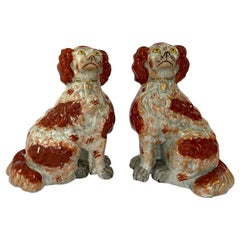 Fine and Rare Pair of Large Staffordshire Spaniels, c. 1840