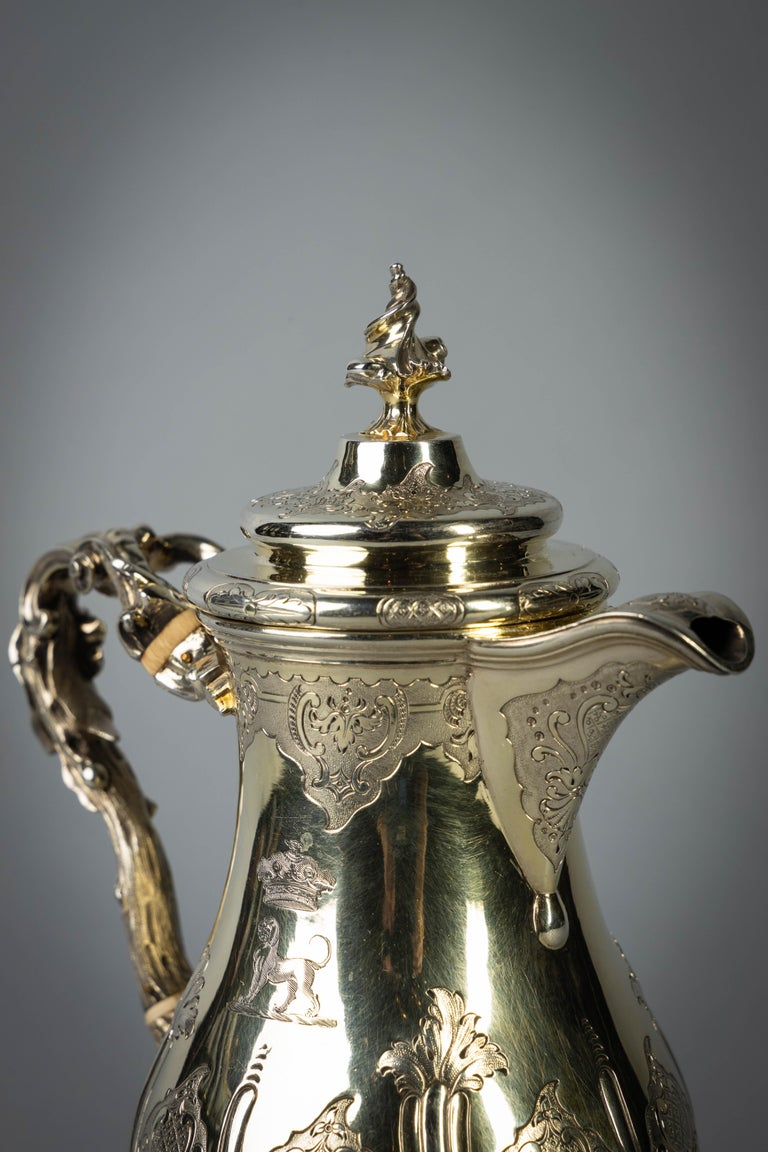 Mid-19th Century Fine and Rare William IV English Silver Gilt Coffee Jug For Sale
