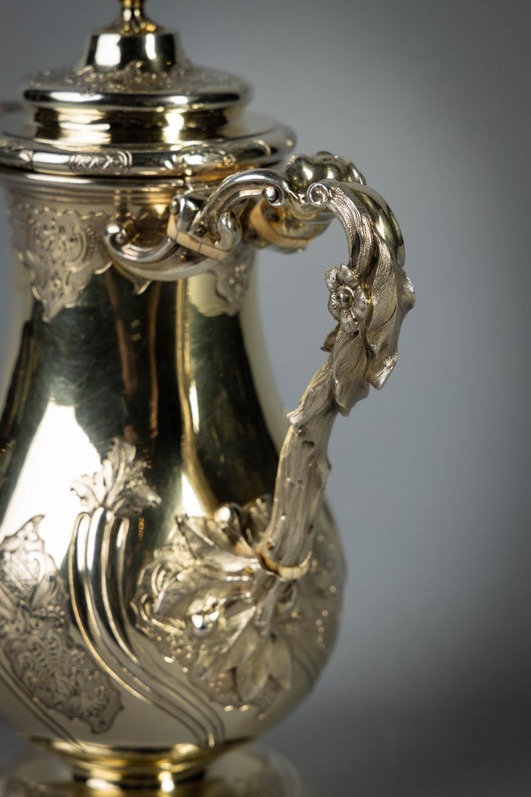 Fine and Rare William IV English Silver Gilt Coffee Jug For Sale 1