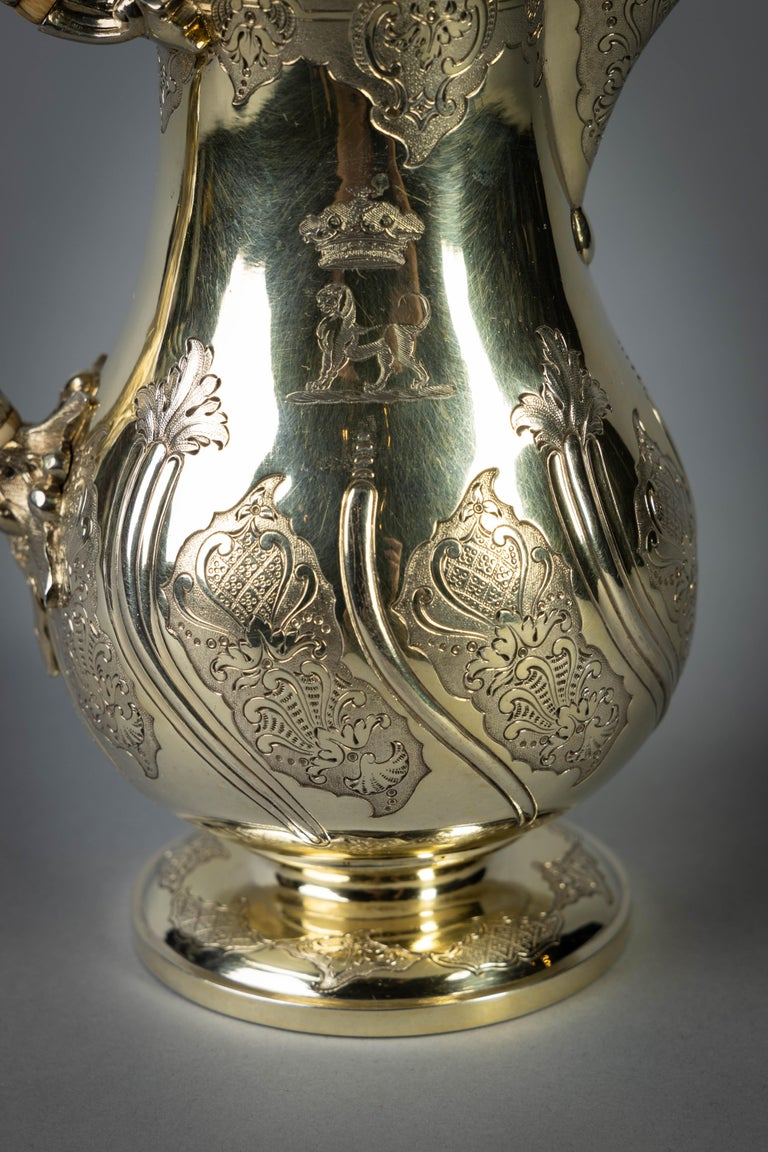 Fine and Rare William IV English Silver Gilt Coffee Jug For Sale 3
