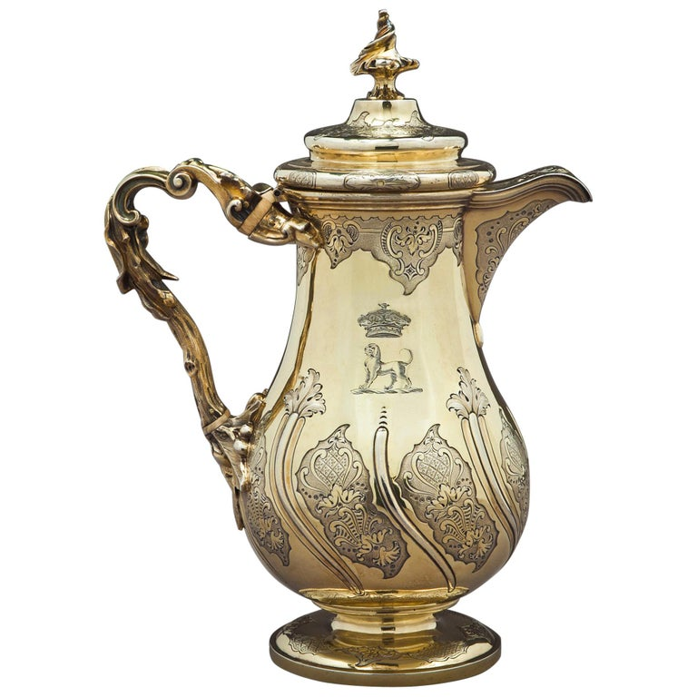 Fine and Rare William IV English Silver Gilt Coffee Jug For Sale