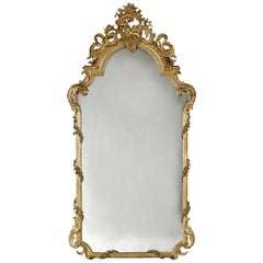 Fine and Tall Louis XV Style Carved Giltwood Mirror, circa 1870