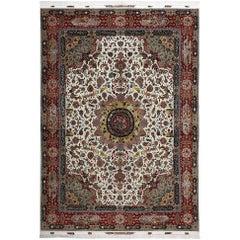Fine Animal Motif Vintage Tabriz Persian Rug. Size: 9 ft 9 in x 13 ft 6 in