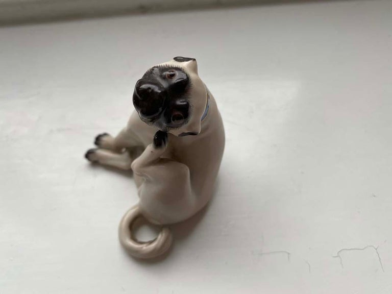 Fine Animal Sculpture, Porcelain Pug Dog, Meissen Porcelain, Mid 20th Century For Sale 2