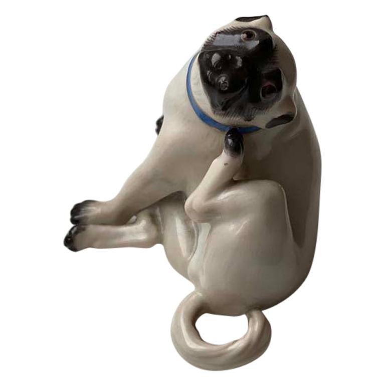 Fine Animal Sculpture, Porcelain Pug Dog, Meissen Porcelain, Mid 20th Century For Sale