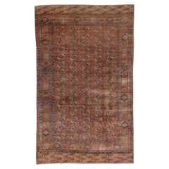 Fine Antique Afghan Bokara Rug, Red & Rust Allover Field, Blue Accents
