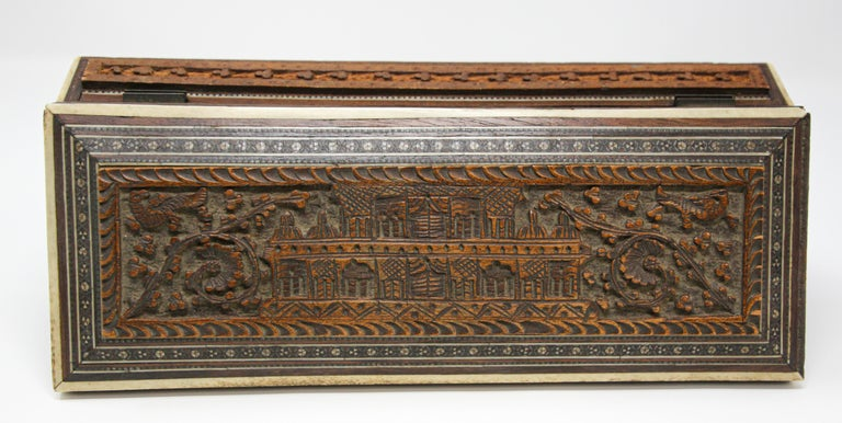 Fine Antique Anglo Indian Mother Carved Box For Sale 4