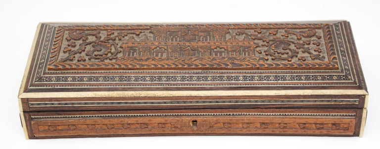 Inlay Fine Antique Anglo Indian Mother Carved Box For Sale