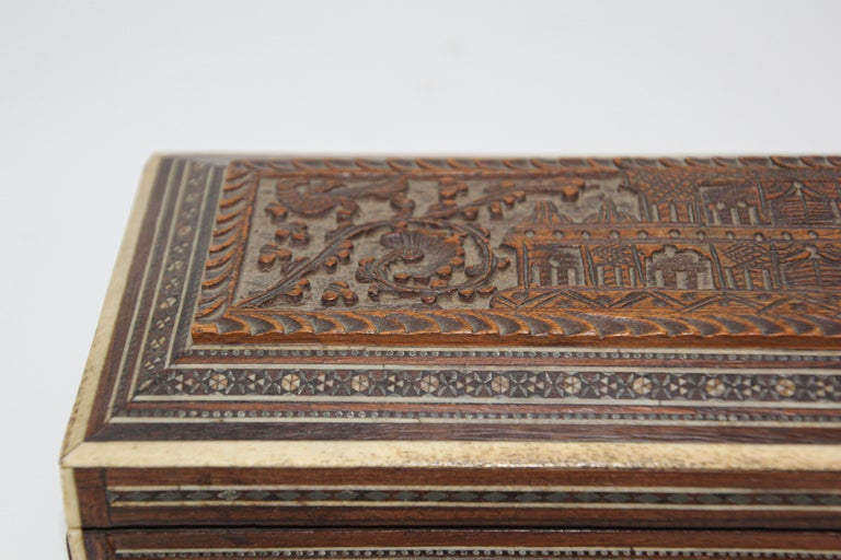 Bone Fine Antique Anglo Indian Mother Carved Box For Sale