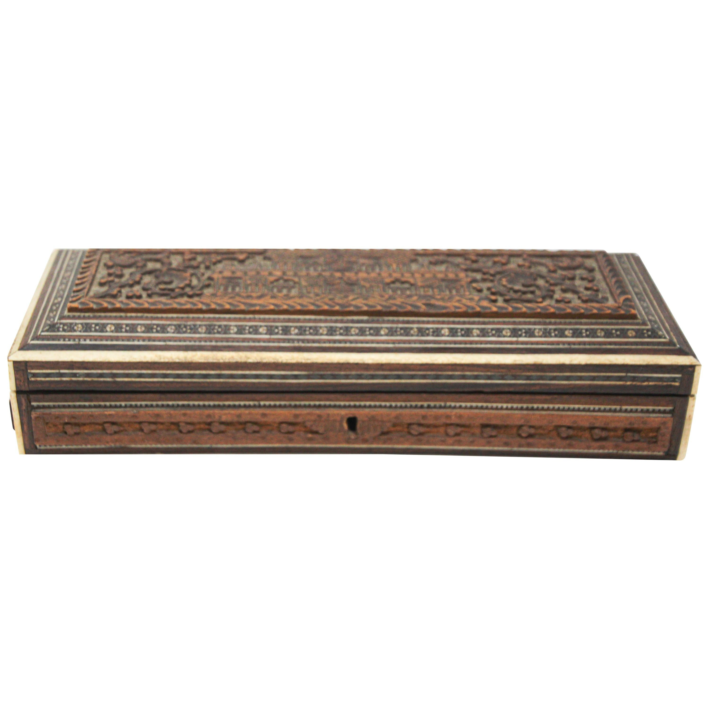 Fine Antique Anglo Indian Mother Carved Box