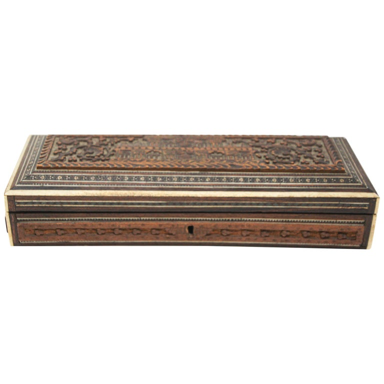 Fine Antique Anglo Indian Mother Carved Box For Sale