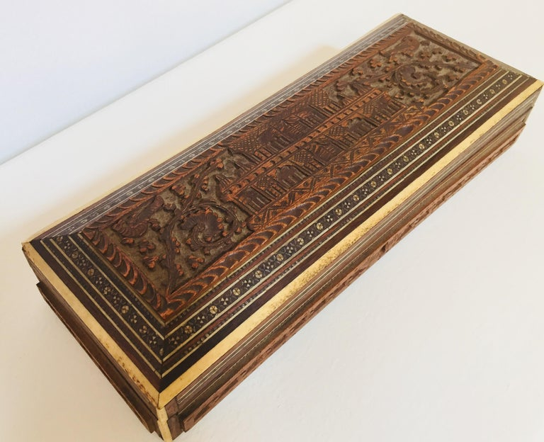 19th Century Fine Antique Anglo Indian Mother of Pearl Inlay Box For Sale