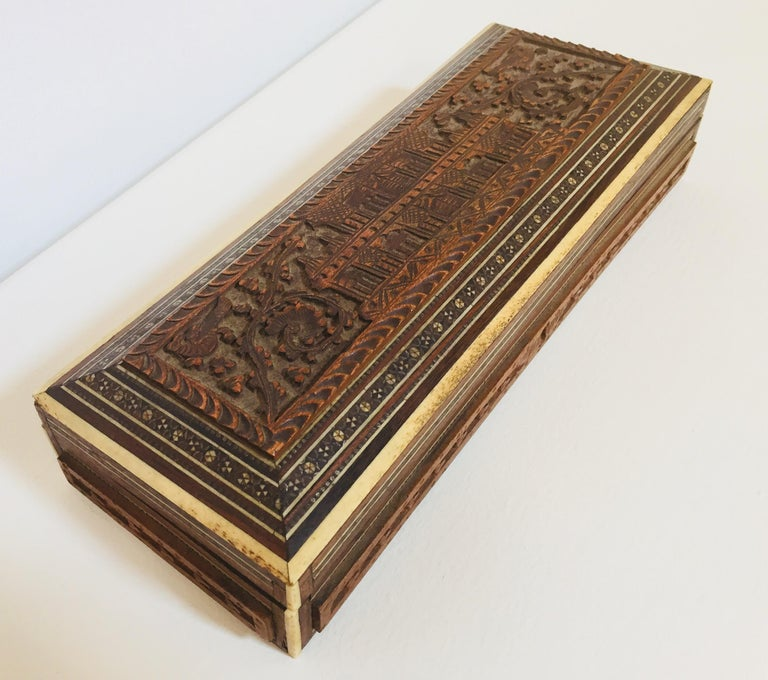 Fine Antique Anglo Indian Mother of Pearl Inlay Box For Sale 1