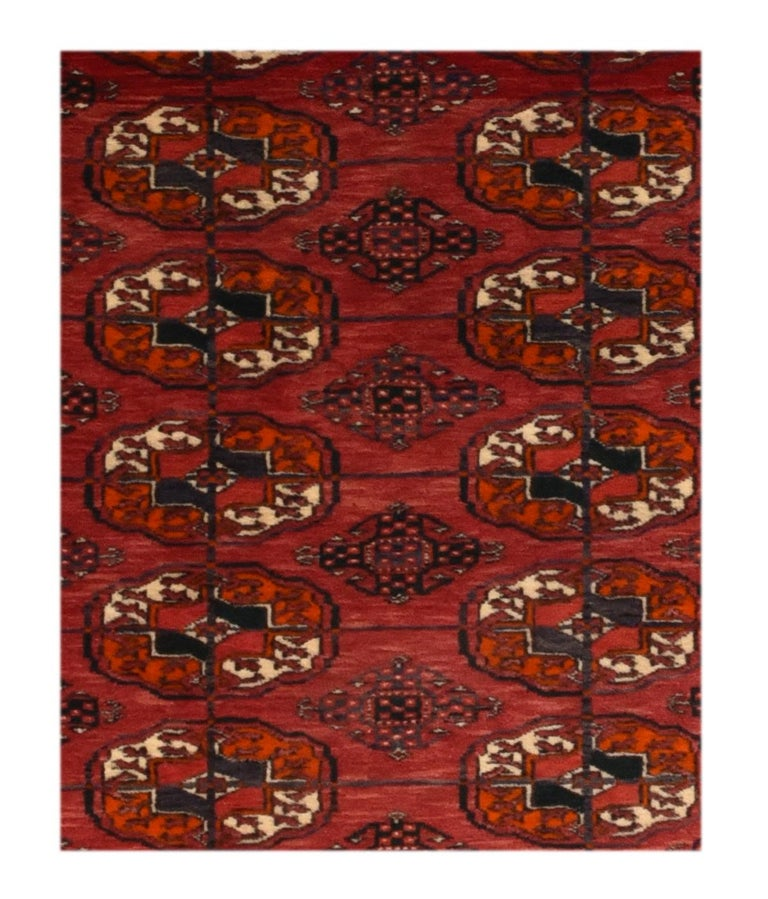 Fine antique Bokhara Russian rug, hand knotted, circa 1910  Design: Tribal  Alternative Titles: Bokhara rug, Bukharo rug Bukhara rug, Bukhara also spelled Bokhara, Uzbek Bukharo, name erroneously given to floorcoverings made by various Turkmen